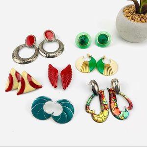 Bundle Vintage Red Green Metal pierced Earrings